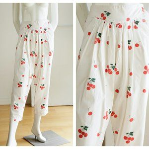 Vintage Cherry Print 80s Front Pleated Pants